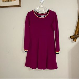 Hanna Andersson sweater dress with rainbow trim
